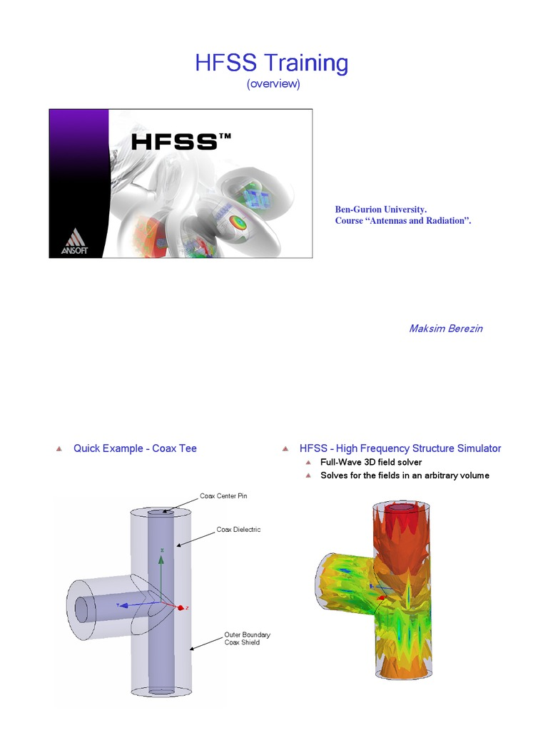 Training HFSS 1 | Finite Element Method | Button (Computing)