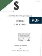 JIS B 7503 (Dial Gauges) 1992