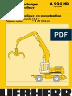 Descriptif Technique Pelle Hydraulique a 924 HD ` Litronic