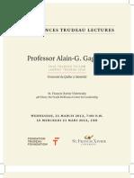 Conférences Trudeau Lectures - Programme