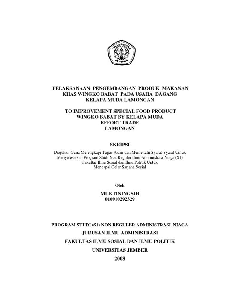 Skripsi 763947 01503 Pelaksanaan Pengembangan Produk Makanan Khas Wingko Babat Pada Usaha Dagang Kelapa Muda Lamongan