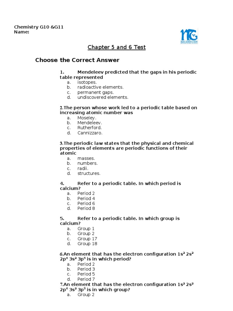 Chapter 5 and 6 test periodic table chemical elements gamestrikefo Gallery
