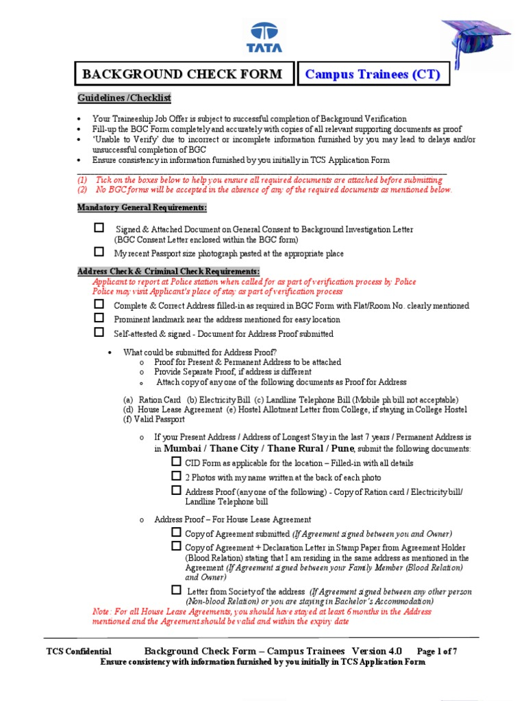 Bgc Form Campus Trainees Identity Document Background Check