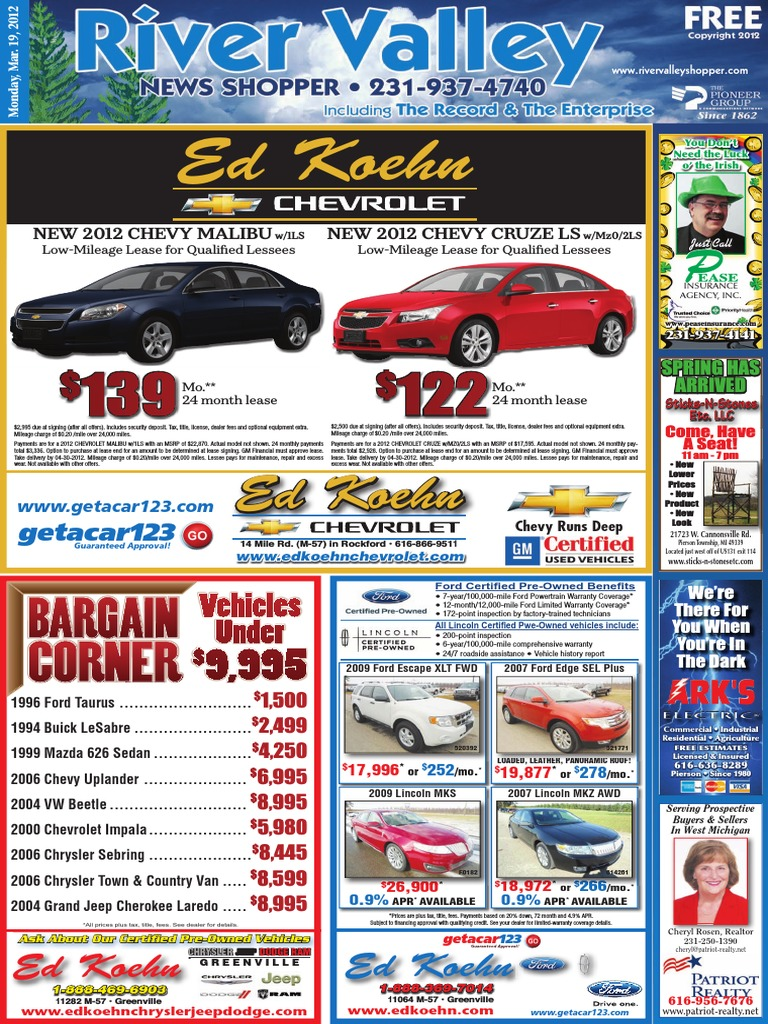 River valley news shopper march 19 2012 chevrolet lease fandeluxe Choice Image
