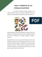 IMPORTANCIA Y BENEFICIO DE LOS MATERIALES DIDÁCTICOS