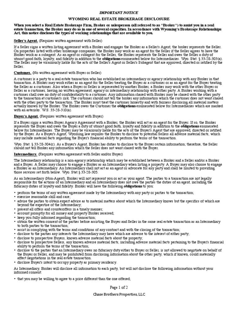 Real Estate Broker Disclosure Form Real Estate Broker Law Of Agency