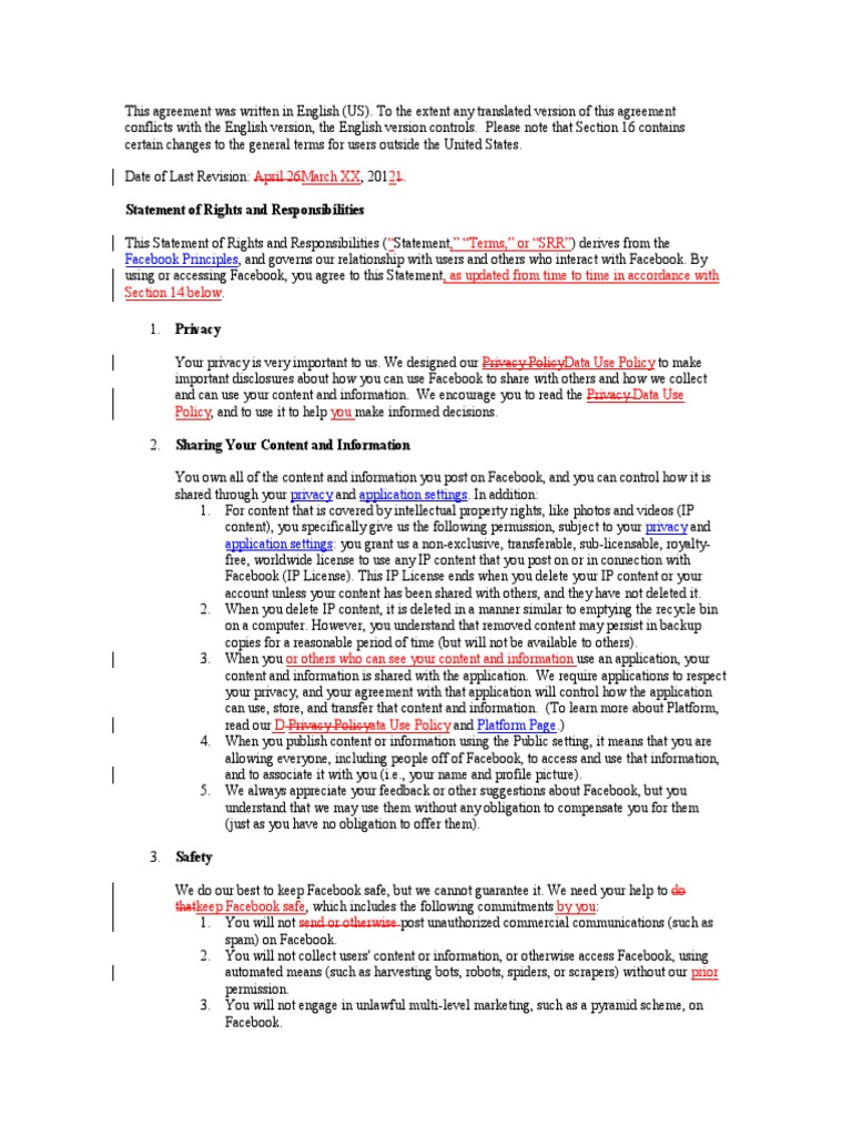 Proposed Changes 3 16 2012 To Facebooks Statement Of Rights And