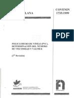 COVENIN 1735-99 Policloruro de Vinilo (PVC) Determinacion Del Numero de VIscosidad y Valor K