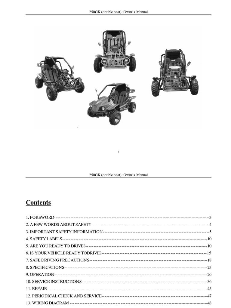 9 kinroad xt250gk sahara 250cc owners manual automatic rh es scribd com kinroad 250cc buggy parts manual Kinroad Raptor 150 Dune Buggy
