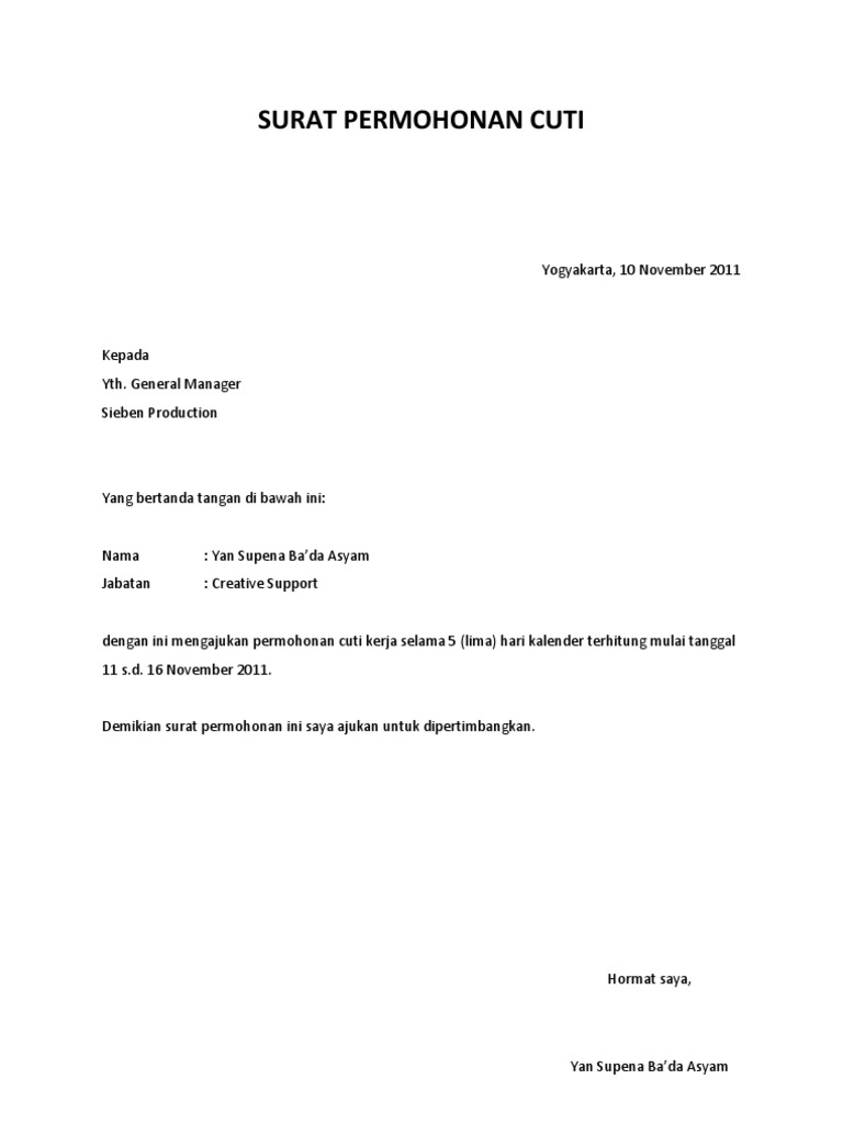 Surat Permohonan Cuti