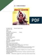 African Sanctus – Instrumentation