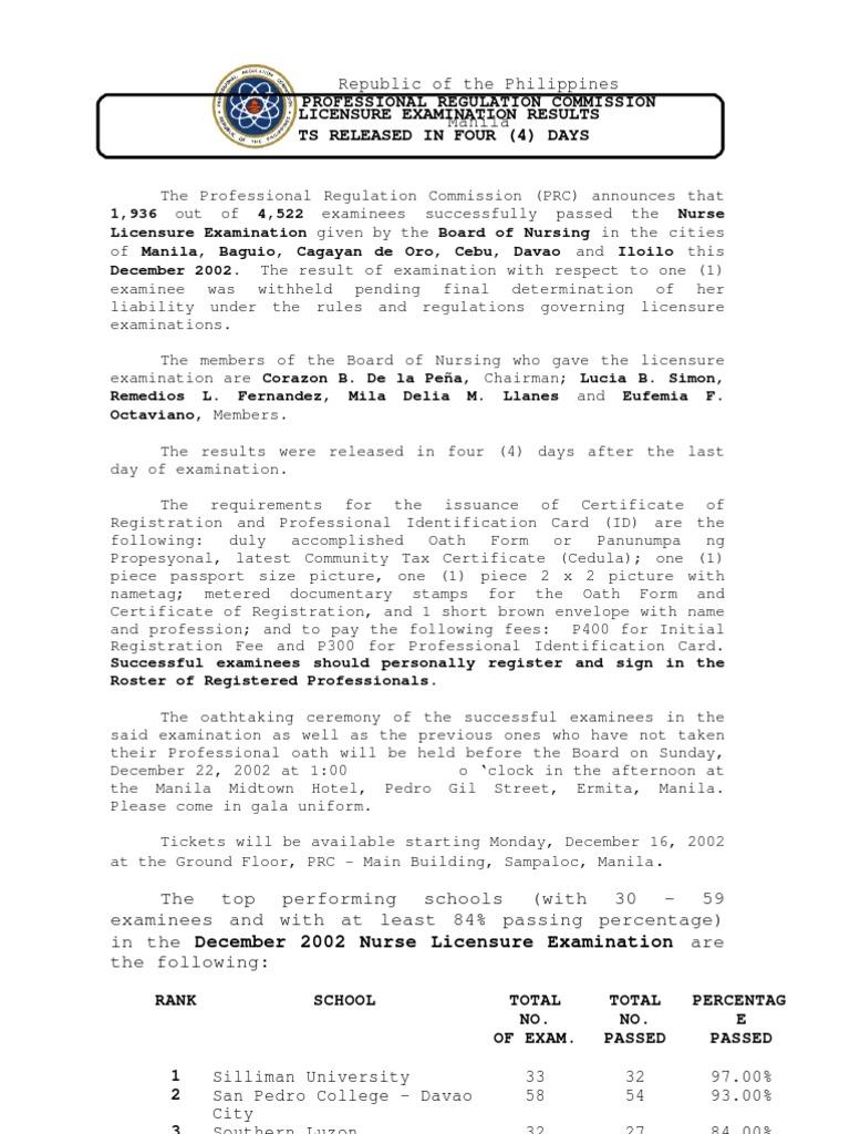 december 2002 national licensure examination for