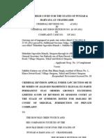 Criminal Revision No of 2012 in Criminal Revision Petition 26 of 2012 Sukhbir Kataria v. Matdata Jagrookta Manch DRAFT