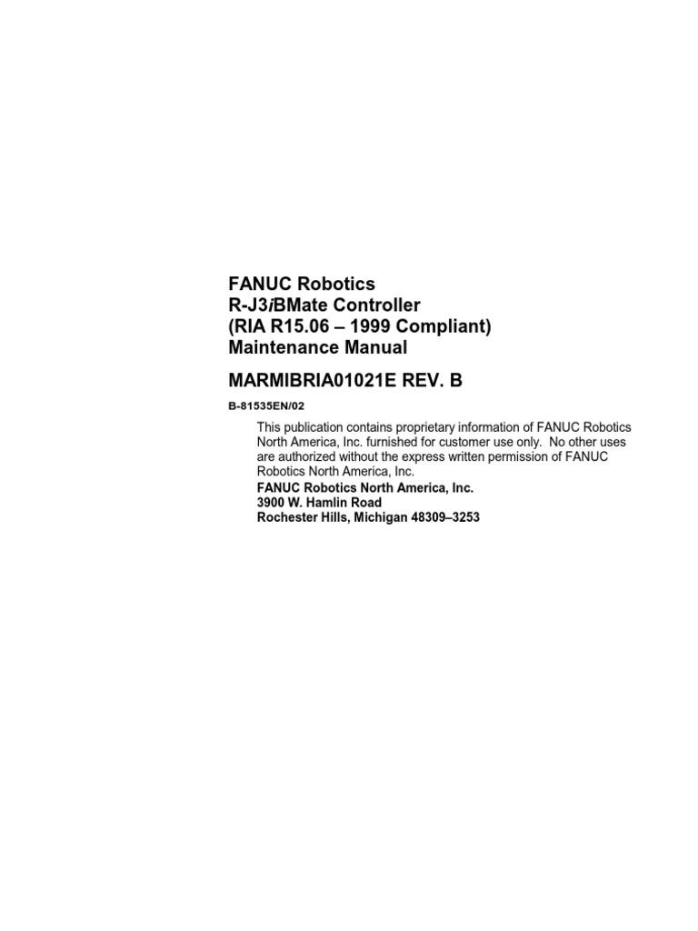 536 r j3ib controller electrical connector robot rh scribd com Fanuc Robot Cable Fanuc CNC