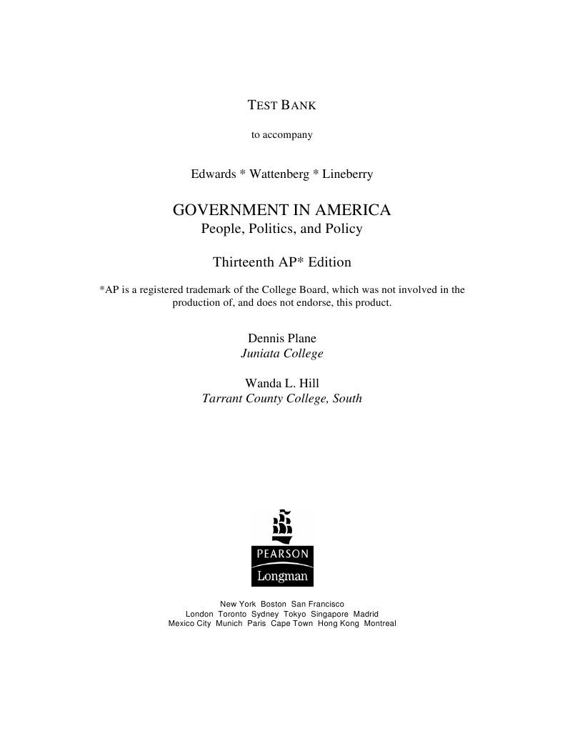AP Govt Quizz Bank Federal Government Of The United States Policy  AP Govt Quizz Bank