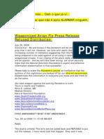 Weaponized Avian Flu Press Release Refused Distribution