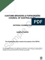 National Exam Sample for Customs Broking