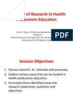 Overview of Research in Health Professions Education