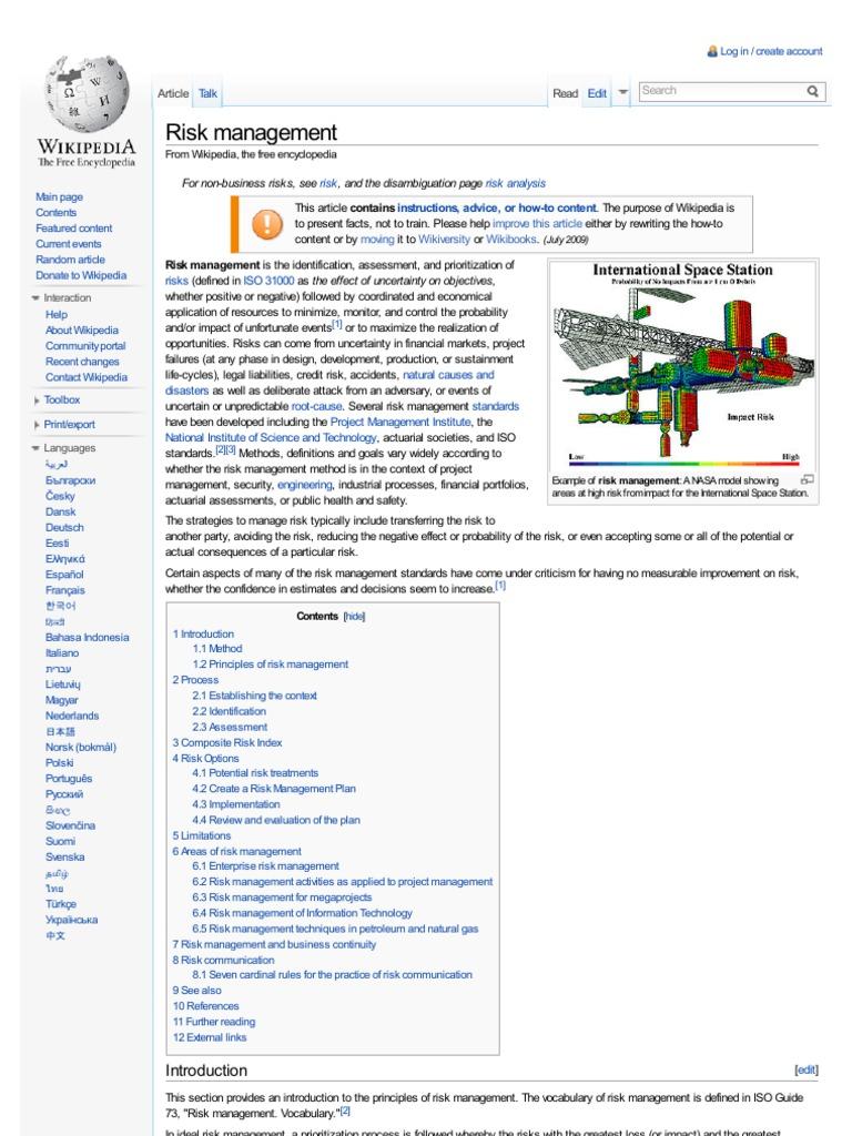 Risk management wikipedia risk management risk ccuart Choice Image