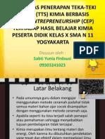 Efektivitas Penerapan Tts Berbasis Chemo Entrepreneurship (