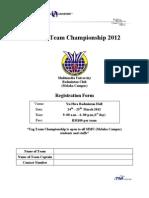Tag Team Championship 2012 Registration Form