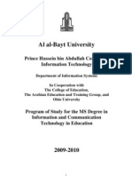 Program of Study for the MS Degree in Information and Communication Technology in Education