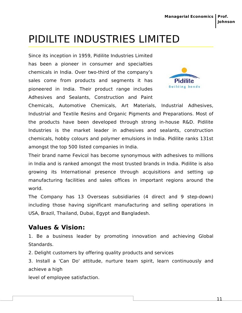Pidilite Industries Limited Final Chemical Industry Dividend