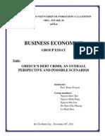 International Business Economics, Greek Debt Crisis' Scenarios
