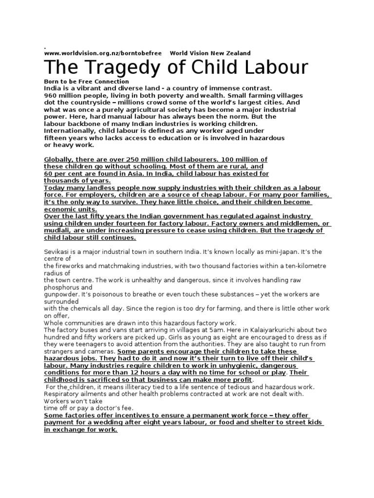 Child labour essay in english easy words