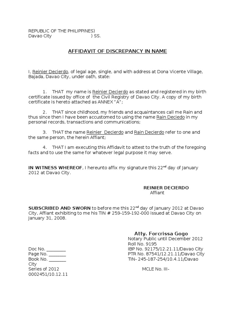 Affidavit of discrepancy in name yadclub Images