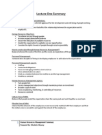 Lecture One Summary