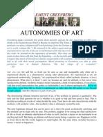 Clement Greenberg - Autonomies of Art