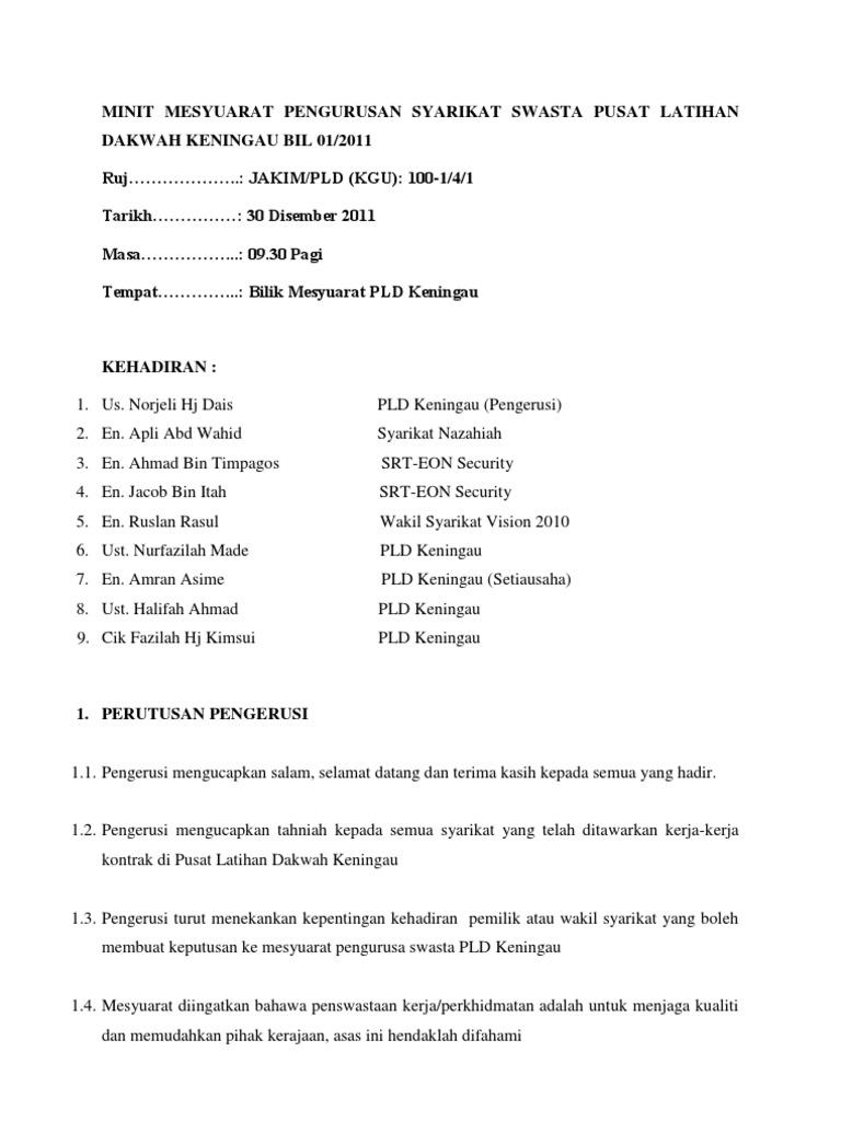 Minit Mesyuarat Pen Gurus An Syarikat Swasta Pusat Latihan Dakwah Keningau Bil 01