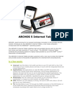 ARCHOS 5 Internet Tablet Spec Sheet En