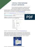 Publikacja Strony Interentowej Na Zewnetrznym Serwerze