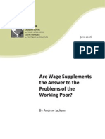 Jackson, A - Are Wage Supplements the Answer to the Problems of the Working Poor (CCPA, June 2006)