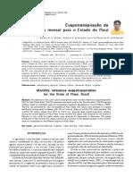 Evapotranspiração de Referencia Mensal do Piauí