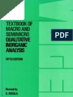 Vogel's Qualitative Inorganic Analysis 5th Edition 1979