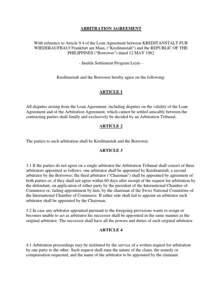 Arbitration Agreement 1 Arbitral Tribunal Arbitration
