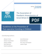 APA Guidelines on the Prevention of Postoperative Vomiting in Children