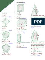 Fórmulas de áreas y volúmenes