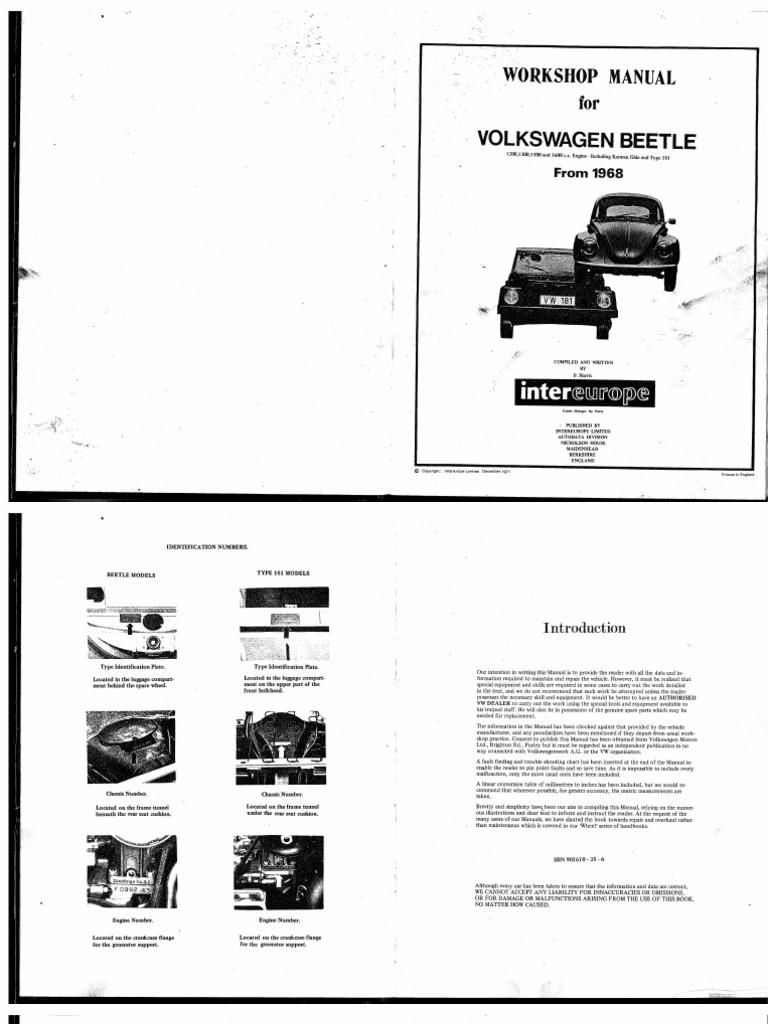 Workshop Manual Post 68 Beetle