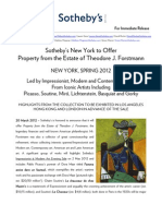 Sotheby's to Offer Property from the Estate of Theodore J. Forstmann - Spring 2012