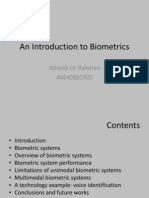 An Introduction to BioMetrics