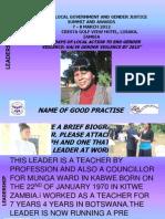 Leadership Majorie Timm Kabwe Municipal Council