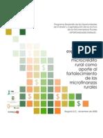 Analisis de La Experiencia de Fondos de Microcredito Rural Como Aporte a Las Microfinanzas Rurales