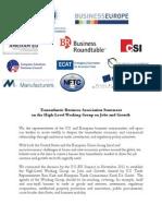 Transatlantic Business Associations Statement on the HLWG