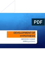 Development of Hypothesis