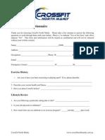 CFNM Pre-exercise questionnaire
