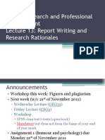 Lecture 13 - Report Writing and Research Rationales